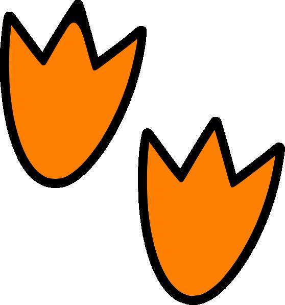 Clipart penquin footprint. Orange dino footprints clip