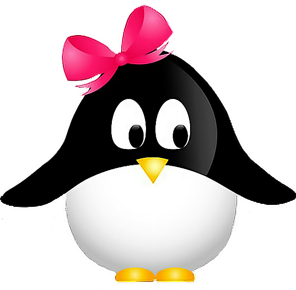 Clipart penquin girly. Penguin cute bow freetoedit