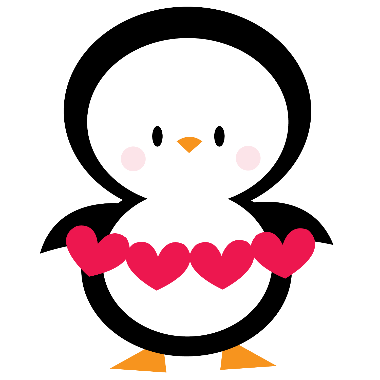 Penguin clip art heart. Clipart penquin girly