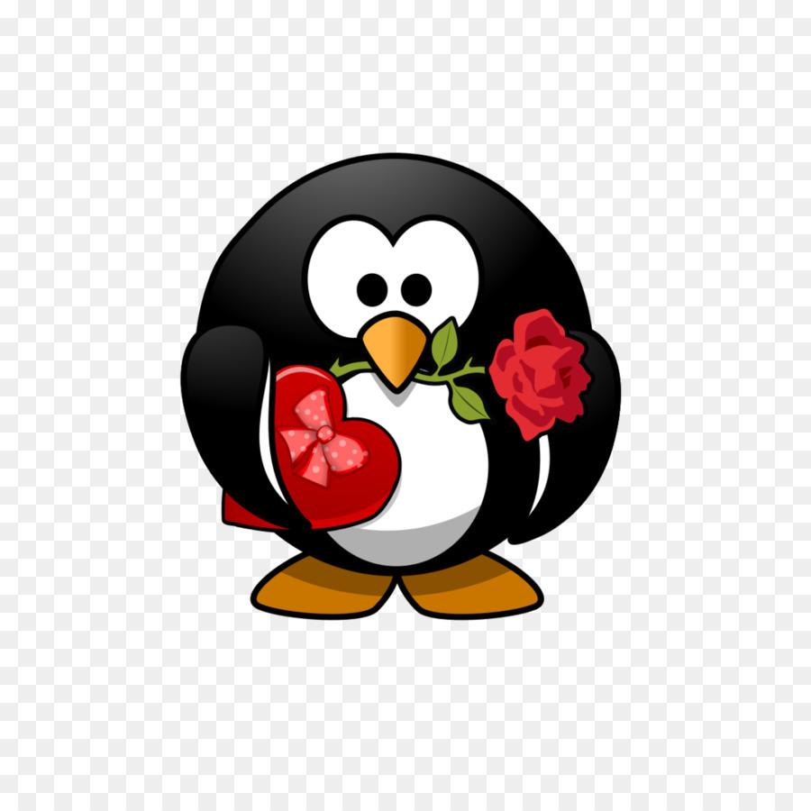 Clipart penquin heart. Gift penguin bird font