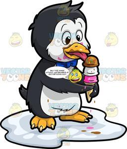 An loving penguin . Clipart penquin ice cream