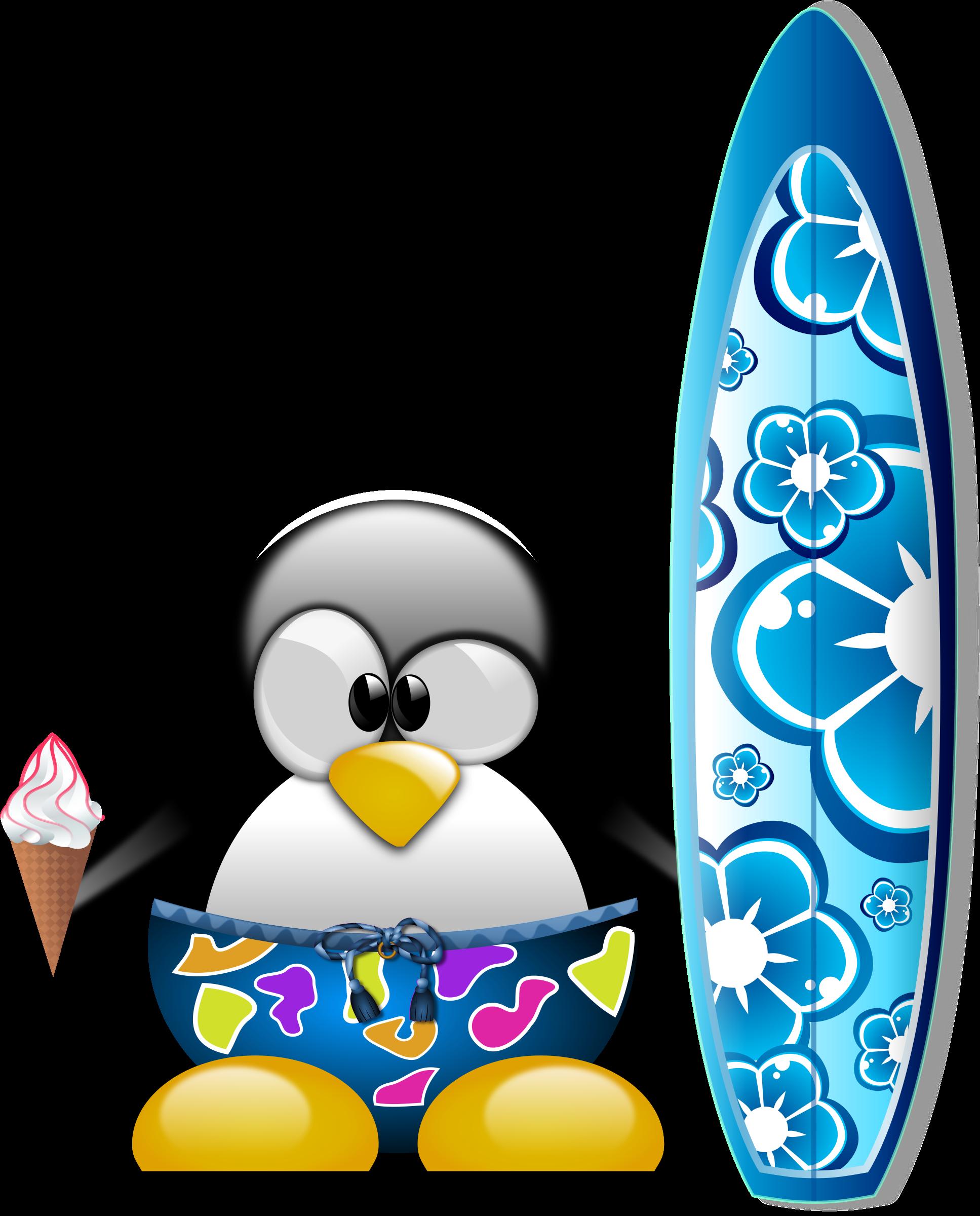 Tux the surfer big. Clipart penquin ice cream