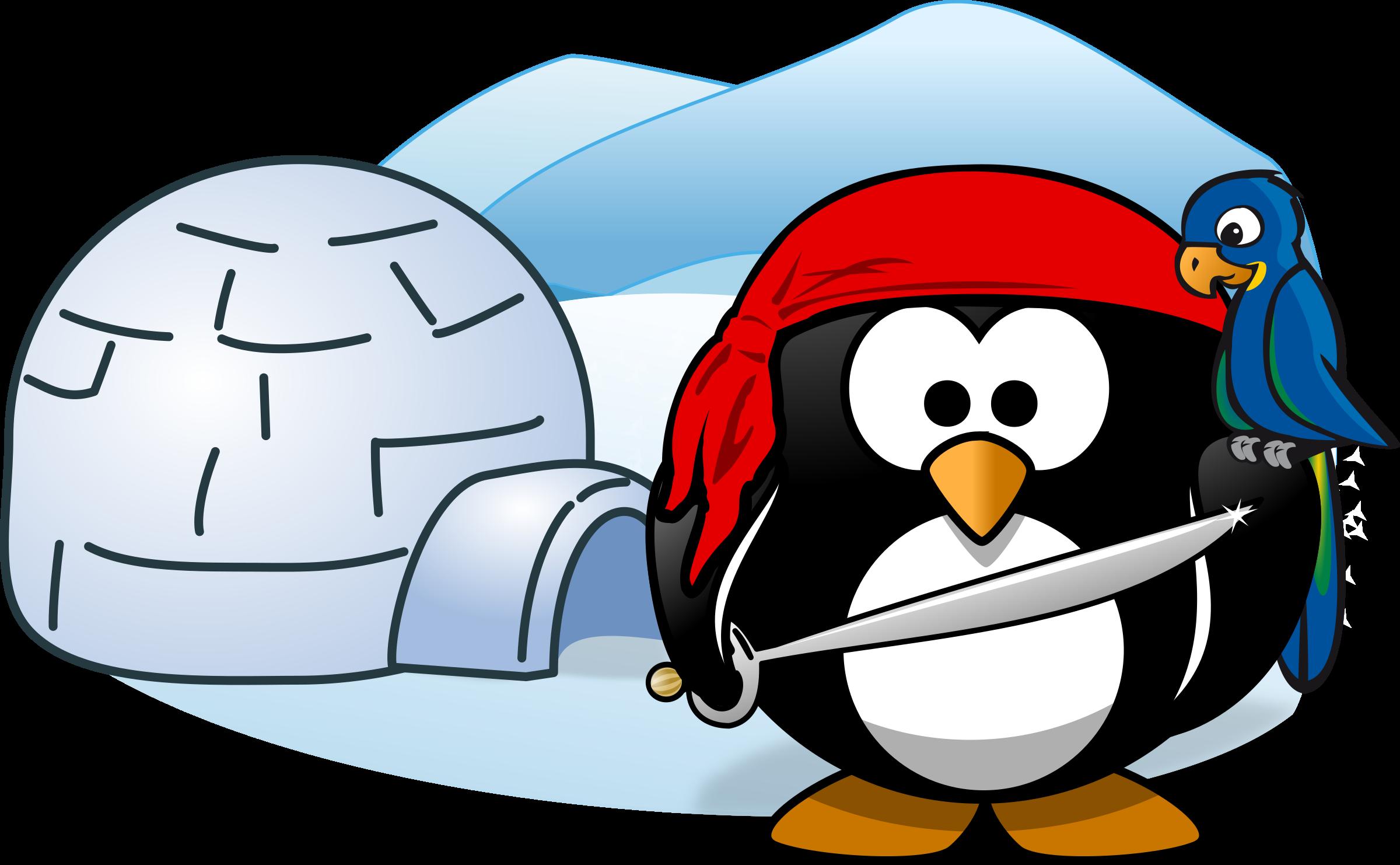 Igloo clipart infront. Pirate in antarctica big