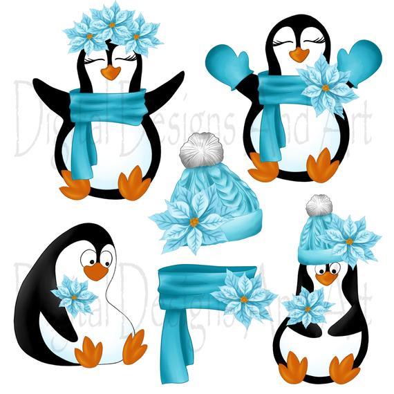 Penguins penguin handpainted winter. Clipart penquin illustration