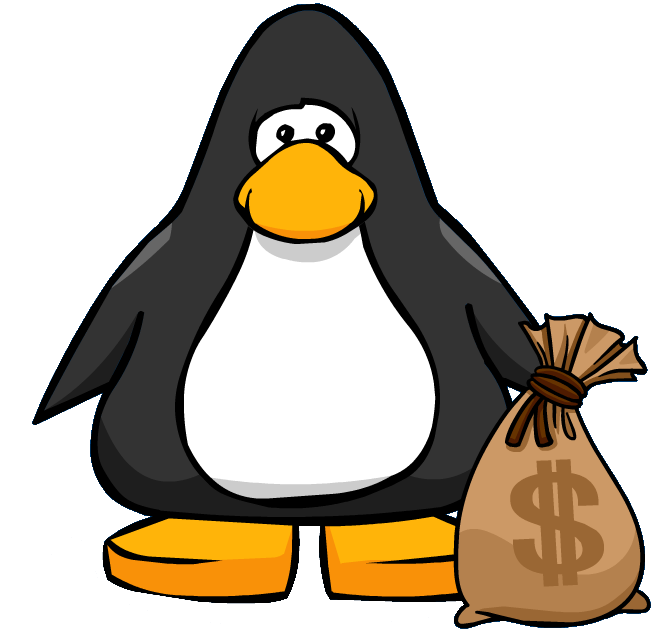 January clipart penguin. Image money bag from