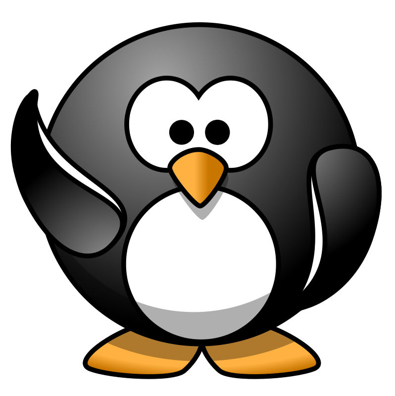 Penguin waving . Clipart penquin jpeg