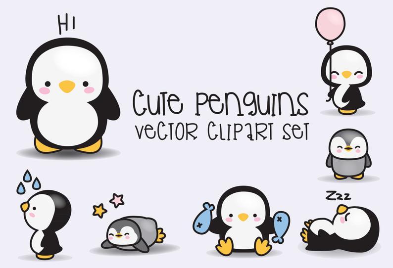 Premium vector penguins cute. Clipart penquin kawaii