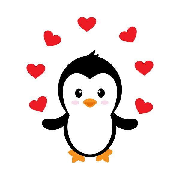 Clipart penquin love. Cartoon cute penguin with