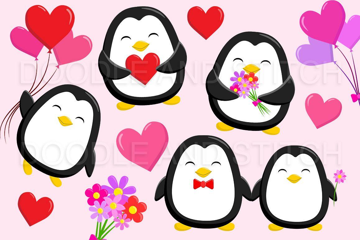 Clipart penquin love. Valentines penguin illustrations