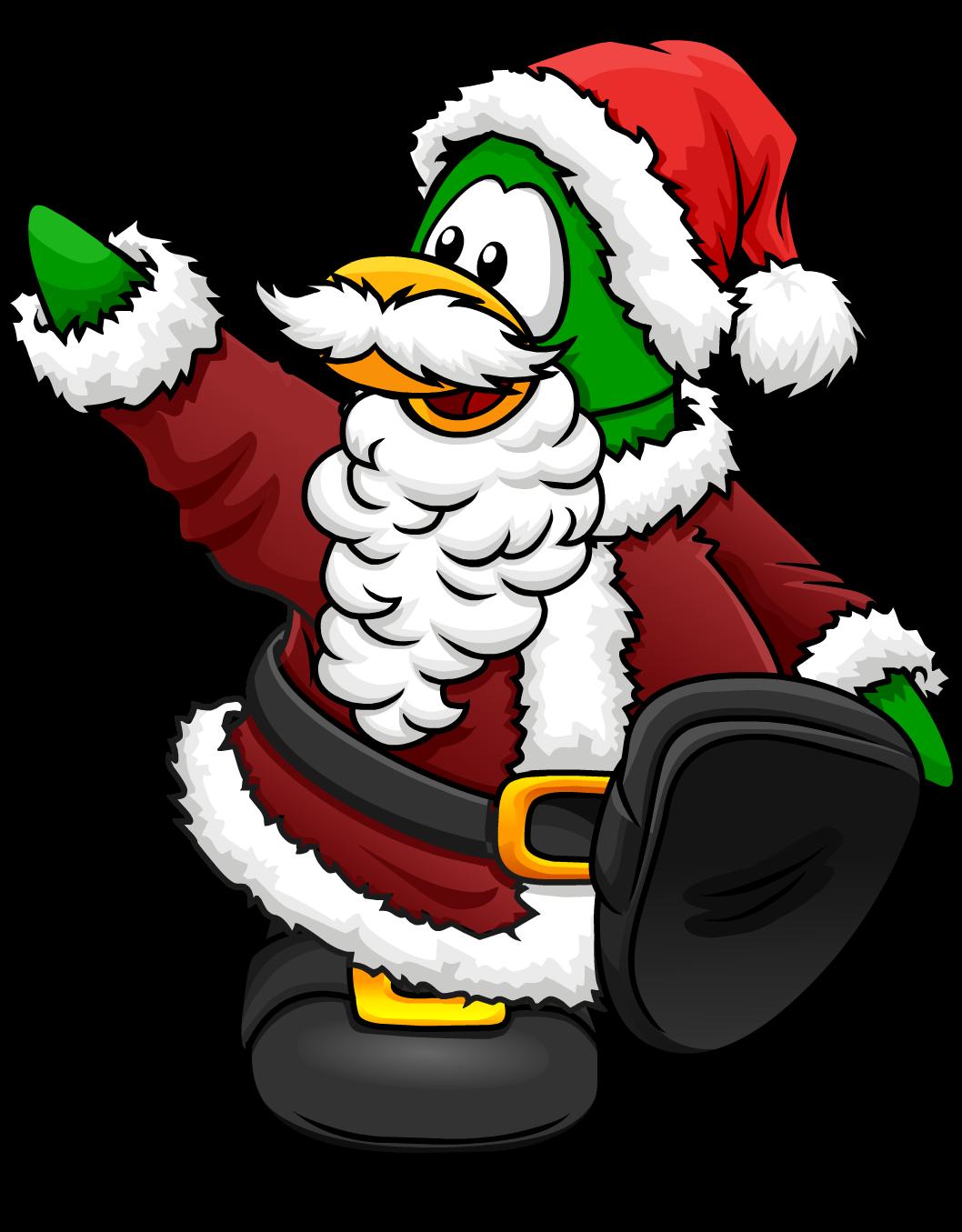Clipart penquin merry christmas. Santa claus club penguin