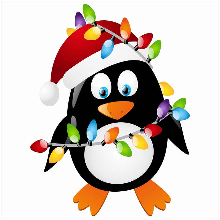 Penguin with lights window. Clipart penquin merry christmas