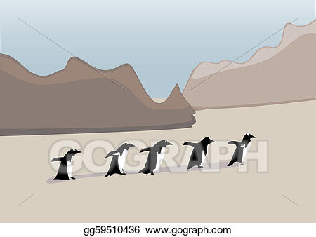 Clipart penquin row. Eps vector penguins in