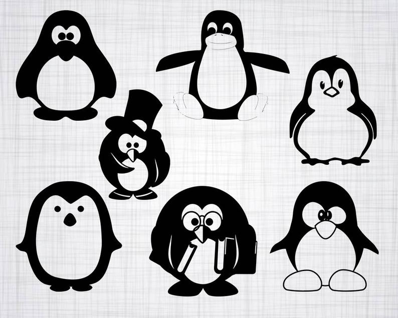 Clipart penquin svg. Penguin bundle cut files