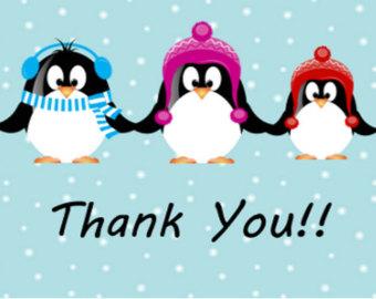 Clipart penquin thank you. Christmas winter clipartxtras