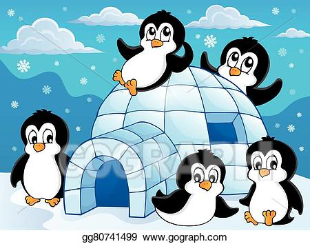 Igloo clipart animated. Vector stock with penguins