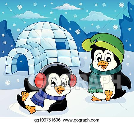 Clipart penquin theme. Vector art igloo with