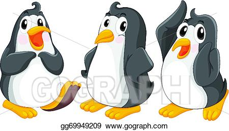 Eps illustration cute penguins. Clipart penquin three
