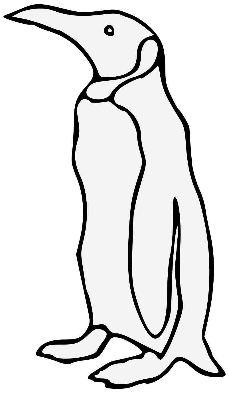 Penguin heraldic art charge. Clipart penquin traceable