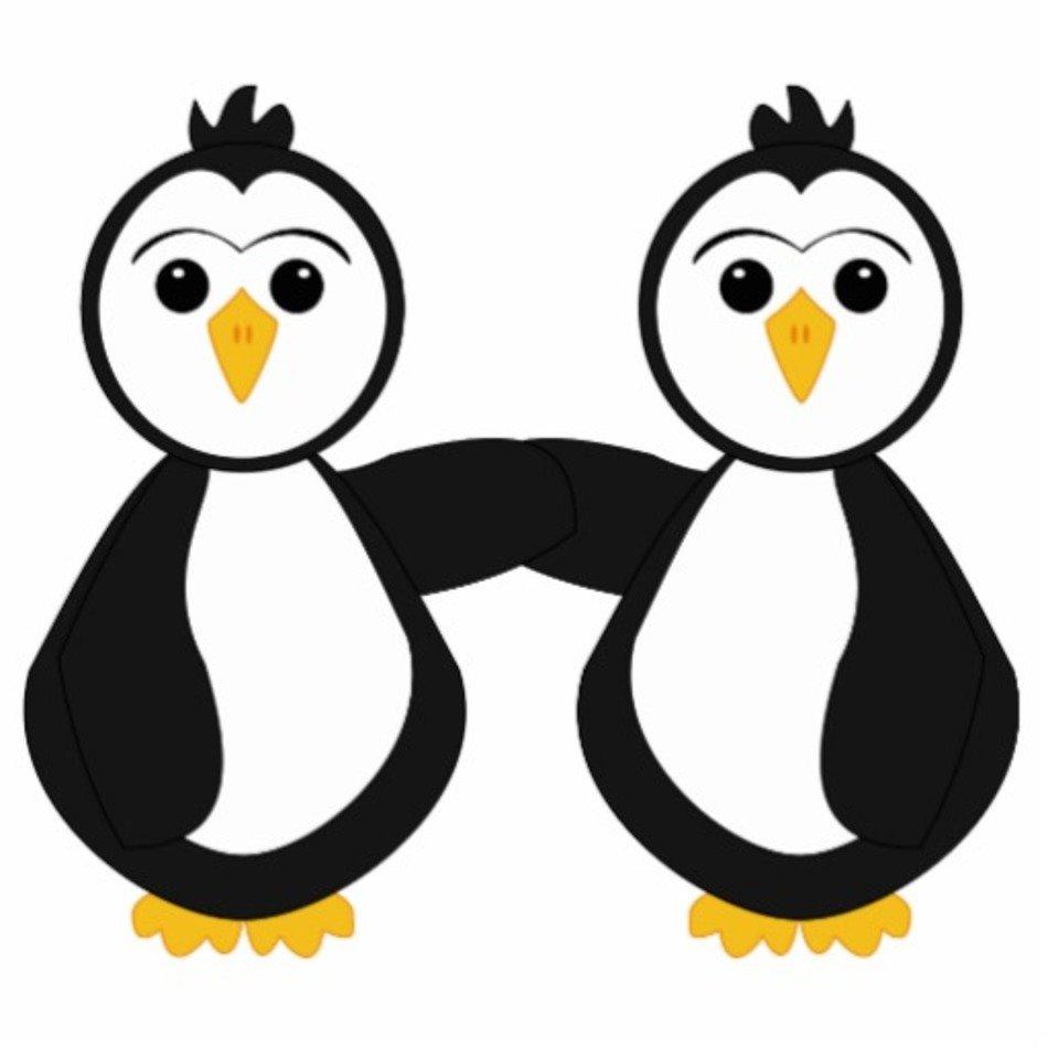 Penguins holding hands cute. Clipart penquin two