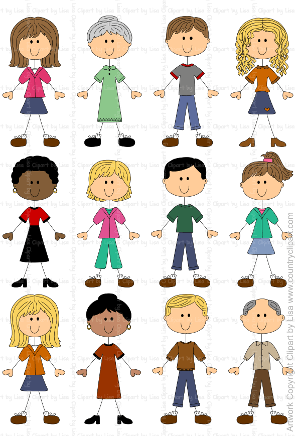 Stick figures and faces. People clipart