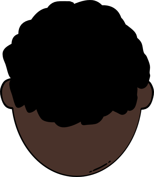 Back of dark skin. Clipart smile brown haired man