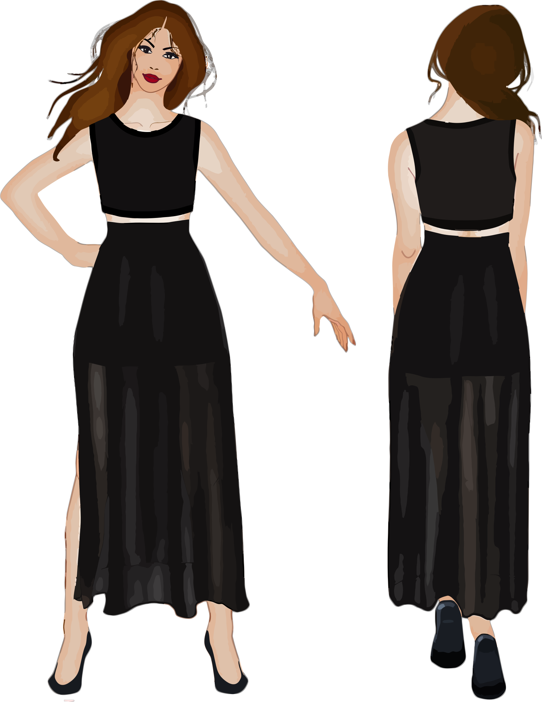 Front and back view. Dress clipart sleeveless dress