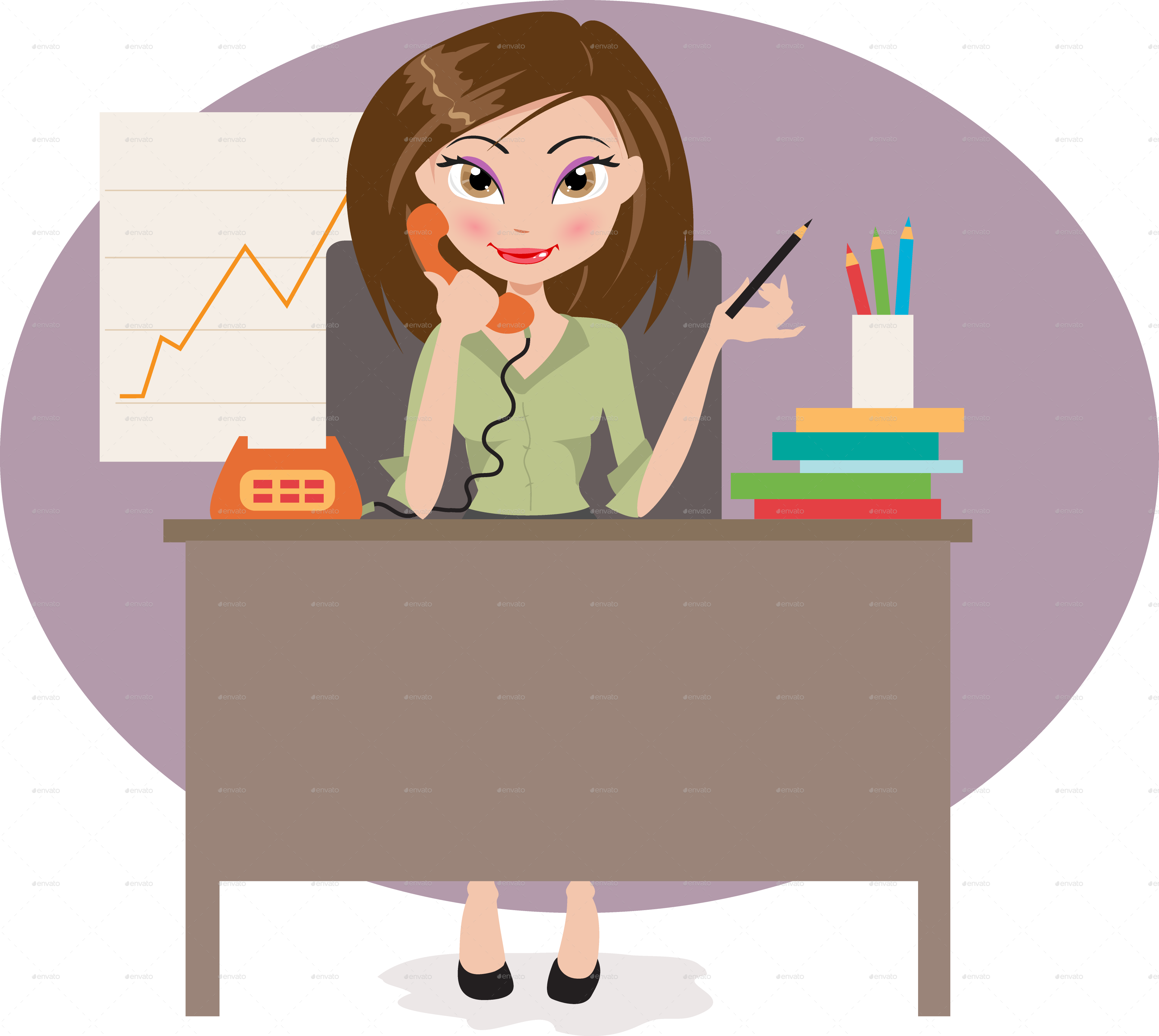 Business woman in by. Professional clipart office attire
