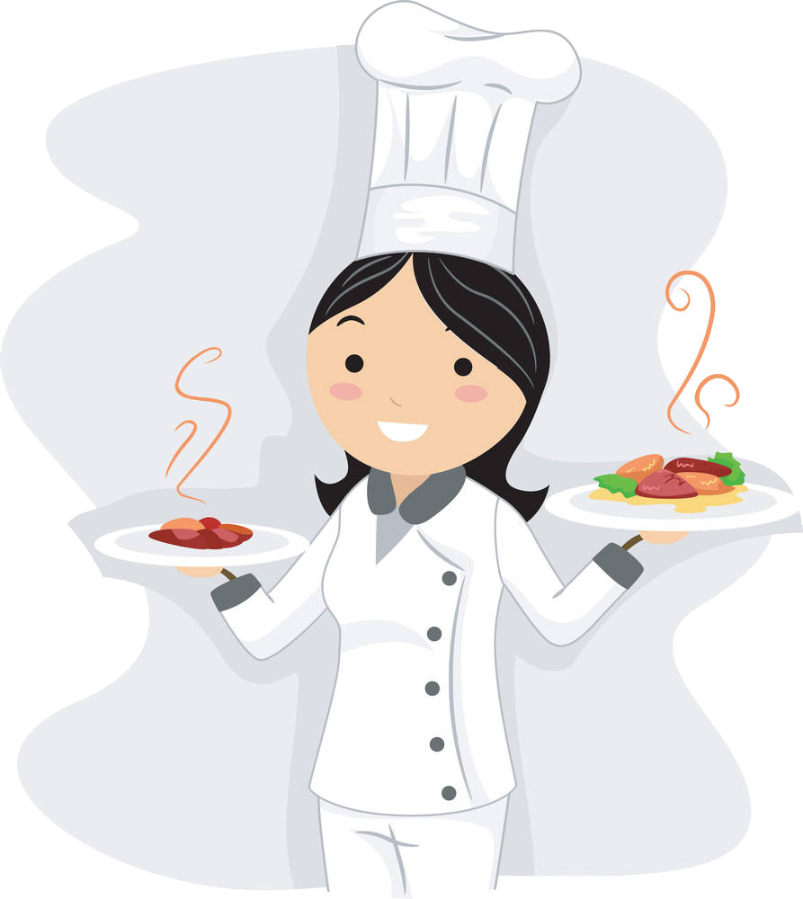 Dish clipart woman. Chef royalty free stock