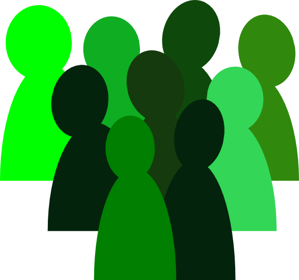 People clipart crowd.  green clip art