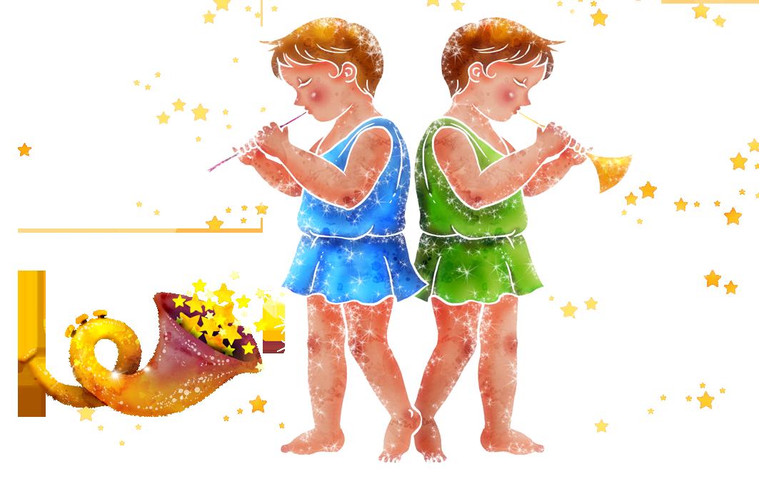 Gemini constellation cartoon taurus. Humans clipart cutout