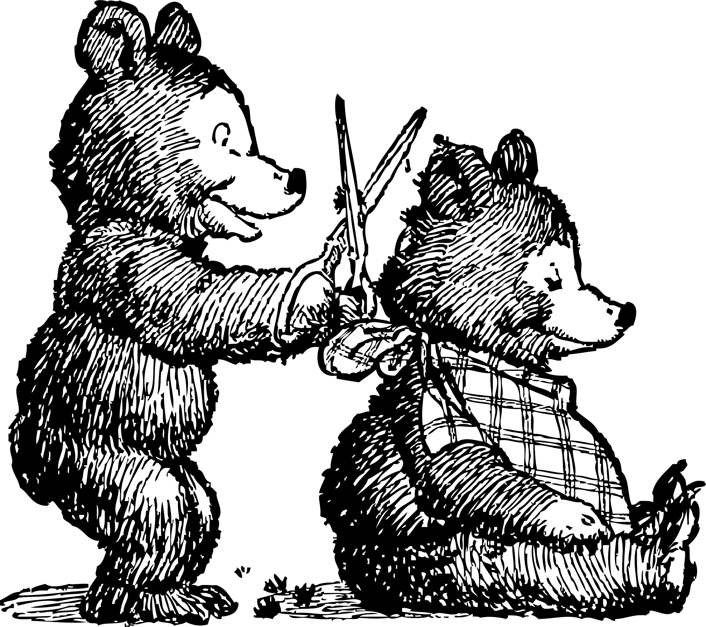 Bear gets haircut big. People clipart itchy