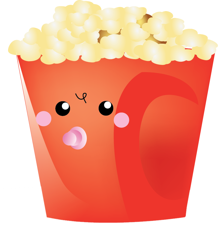 Clipart toys kawaii. Popcorn cute pencil and