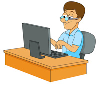 Working clipart person. People laptop computer clip