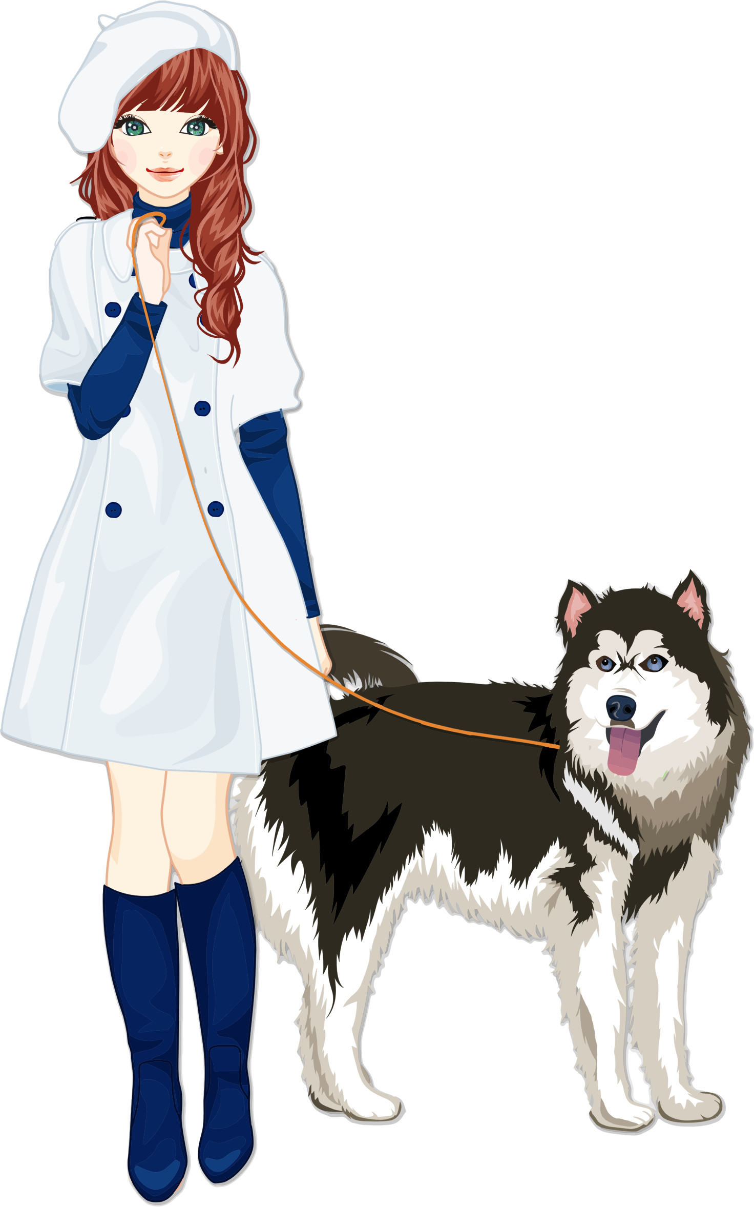 People clipart pet. Girl with dog big