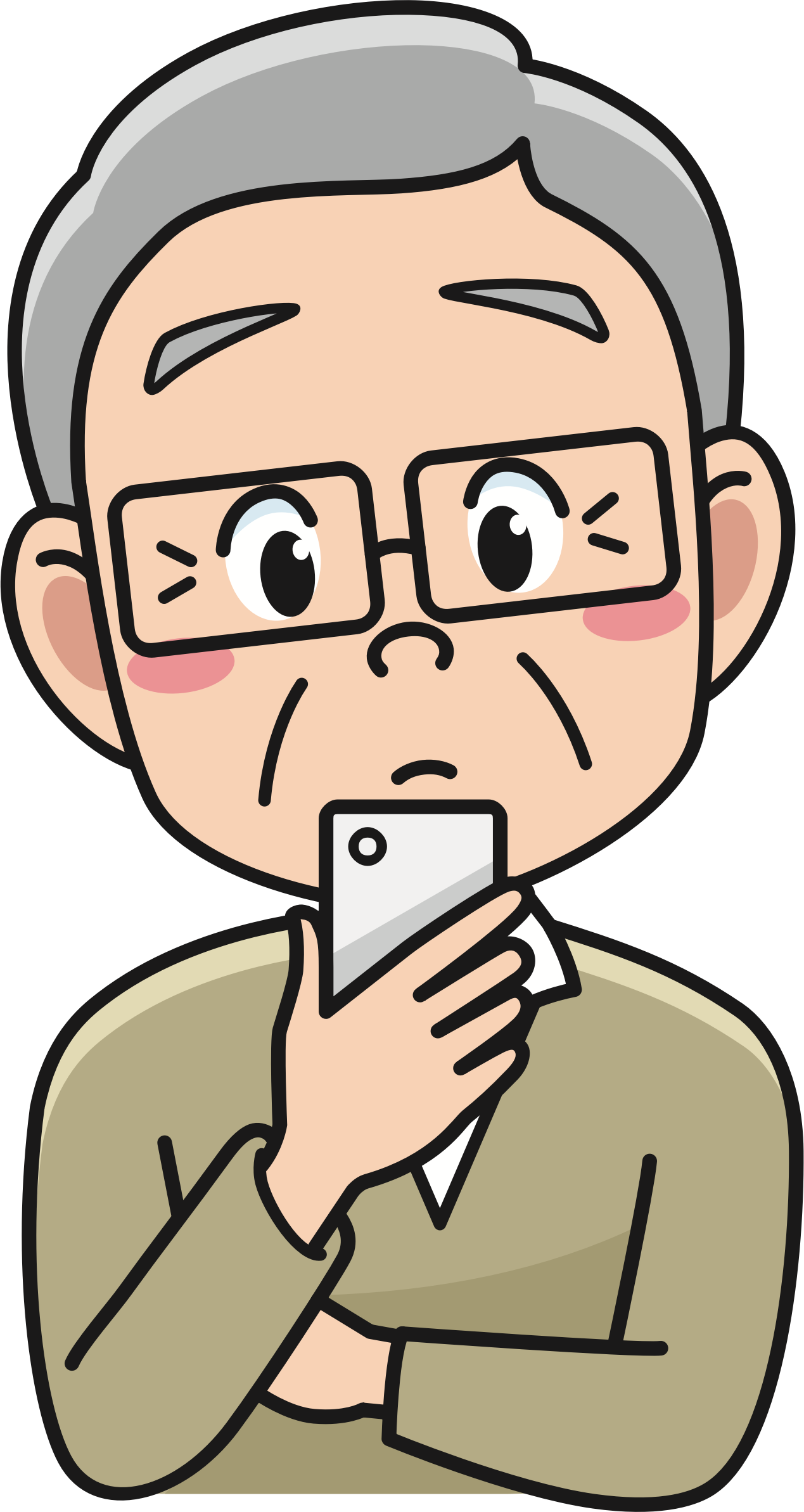 Senior with smartphone big. Phone clipart person