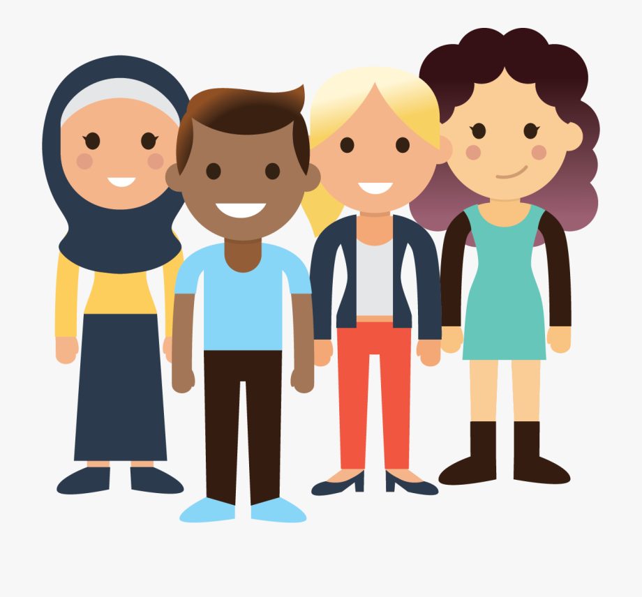 Young clipart cartoon. A group of people