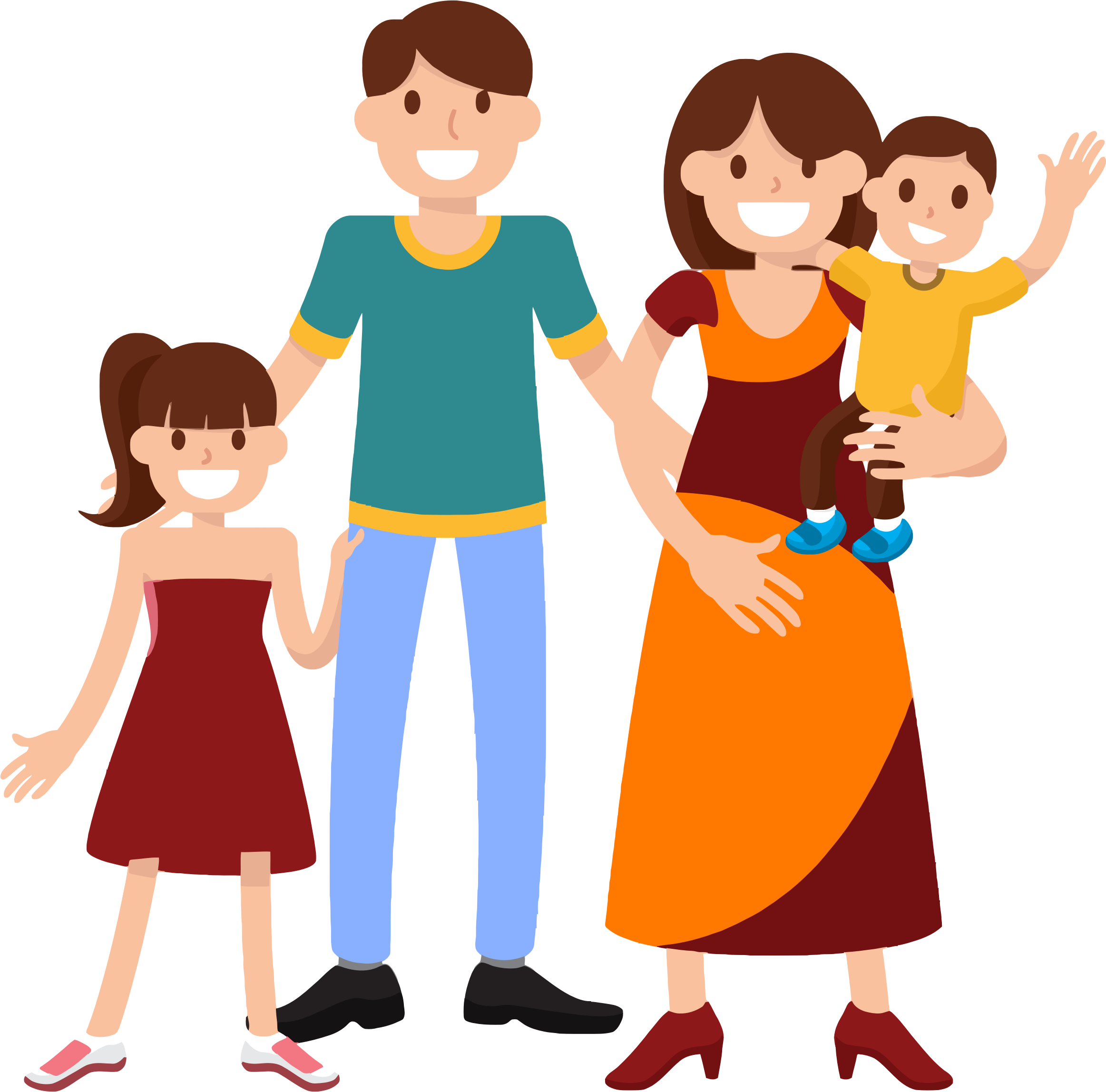 Very happy smiling icons. Kindergarten clipart family