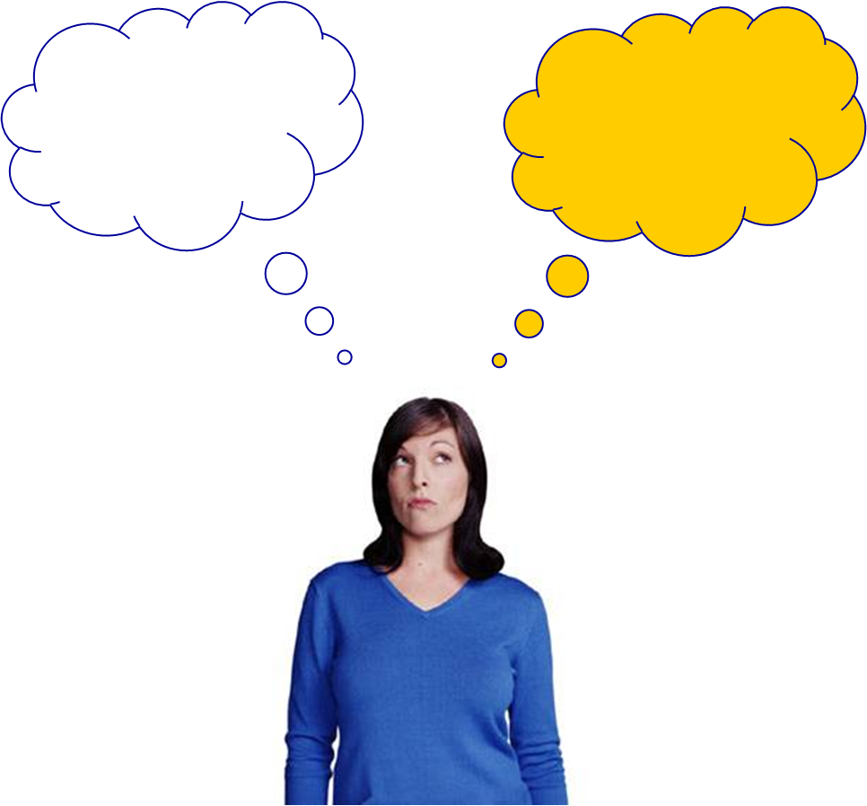 Person thinking with thought. Dreaming clipart talk bubble