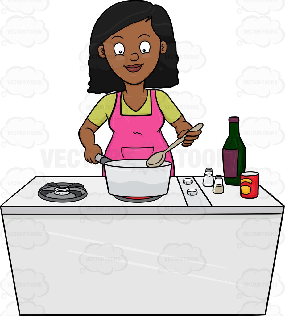 Cooking Woman In Kitchen. Vector Illustration. Royalty Free Cliparts,  Vectors, And Stock Illustration. Image 98748365.