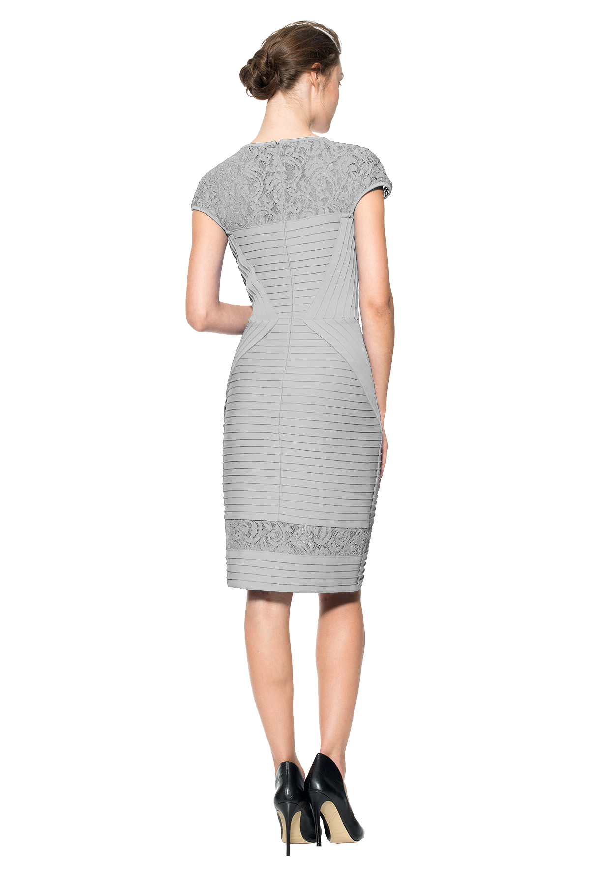 Cutout woman gray back. Clipart person cut out