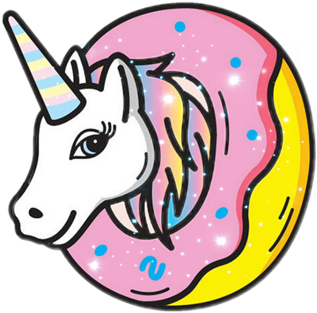 Donut clipart unicorn. Rainbow ftestickers ftekawaii