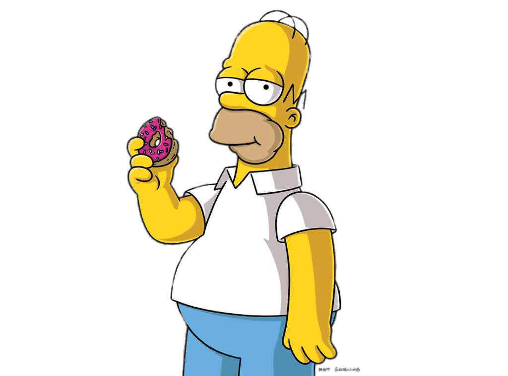 Homer simpson eating a. Donut clipart animated