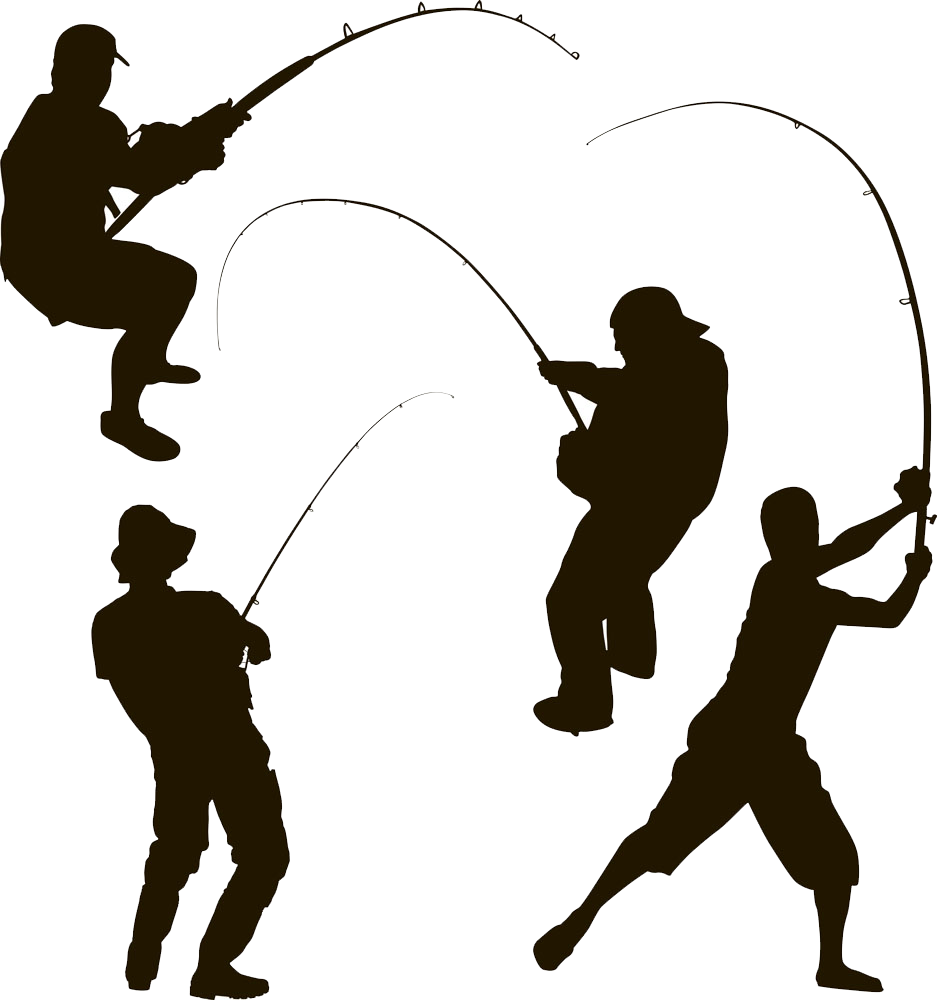 Fishing clipart fisher. Silhouette of fisherman at