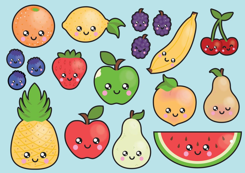 Premium vector kawaii clip. Fruit clipart person