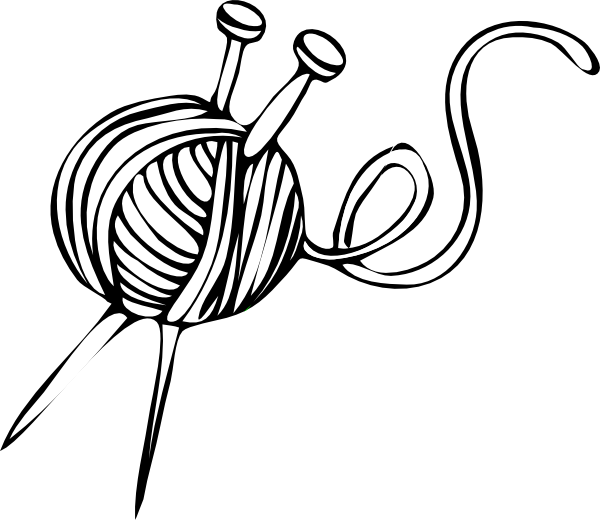 Quilt clipart sketch. Yarn and knitting needles