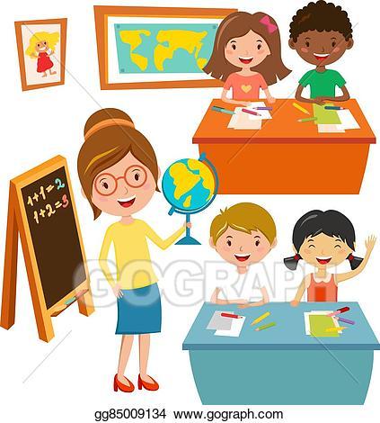 Eps vector school kids. Education clipart study