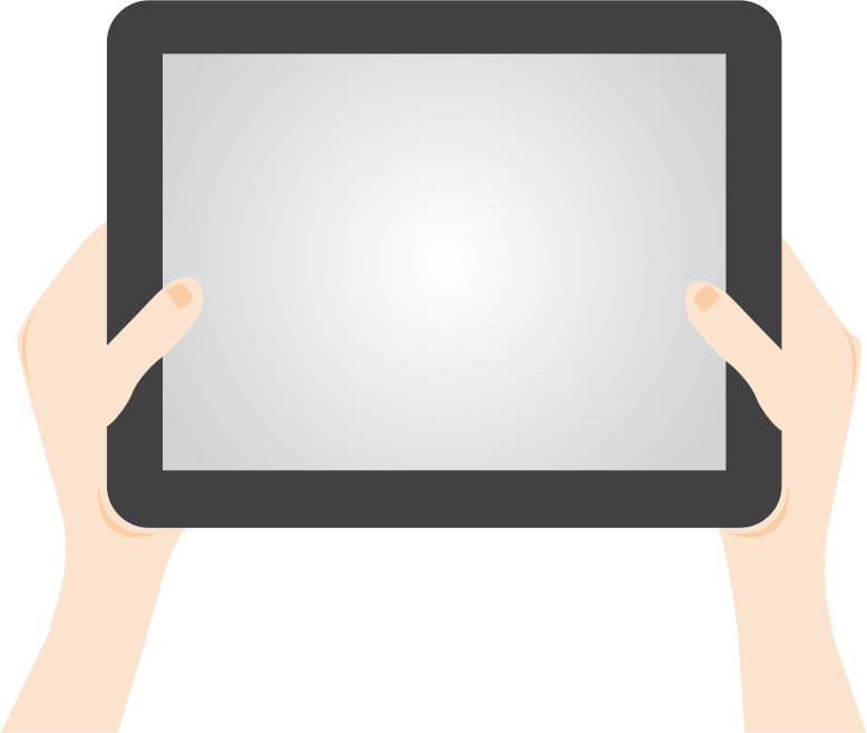Holding tablet medium image. Person clipart technology