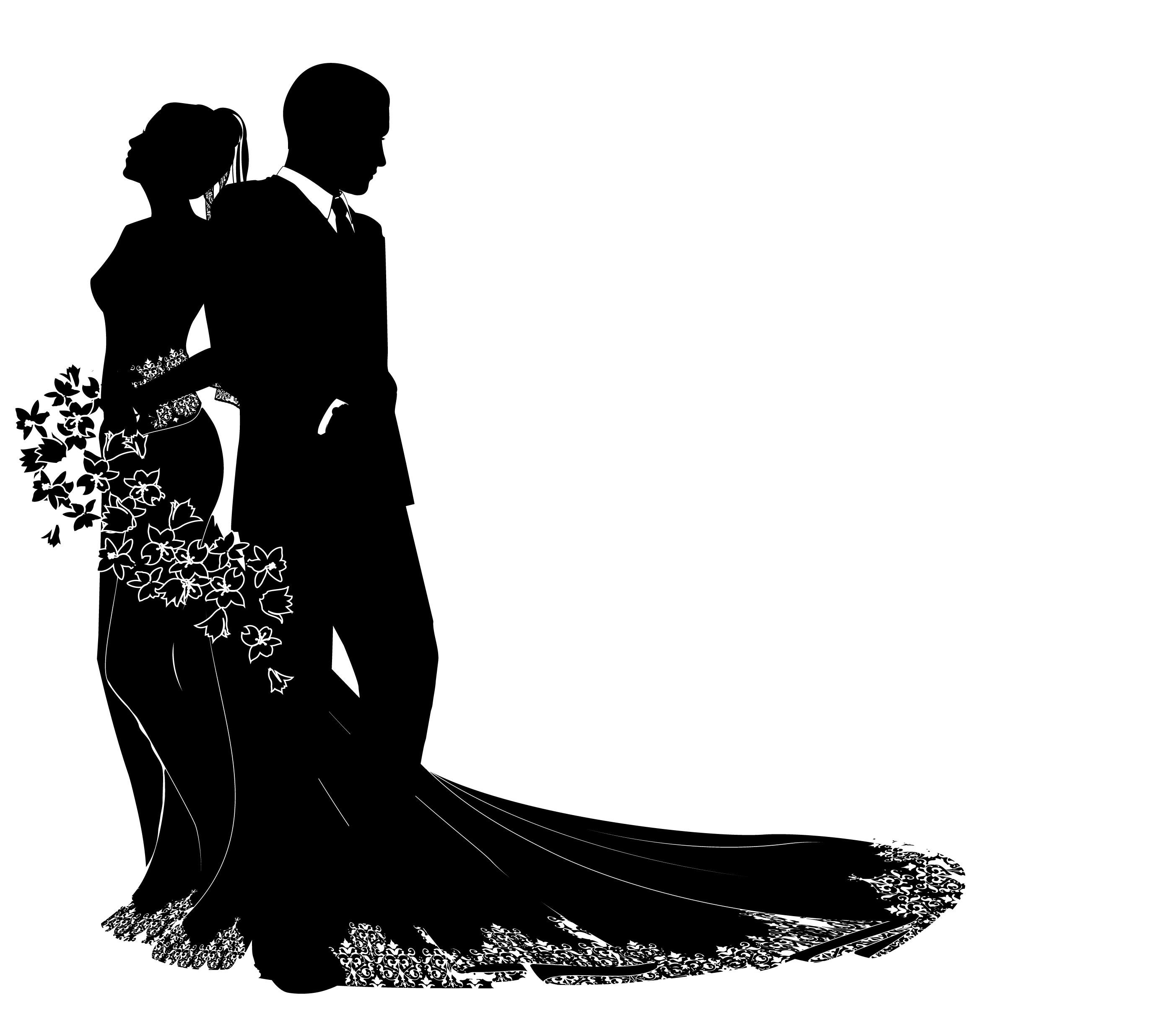 Free silhouette download clip. Clipart wedding person