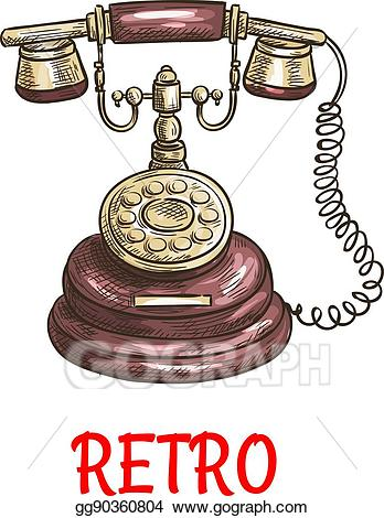 Vector art old vintage. Telephone clipart antique telephone