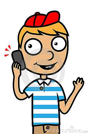 On . Clipart phone boy